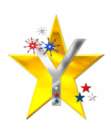 metalic: The letter Y, in the alphabet set Patriotism is silver metalic.  Fireworks and stars decorate letter with red, white and blue.  Golden star serves as background.
