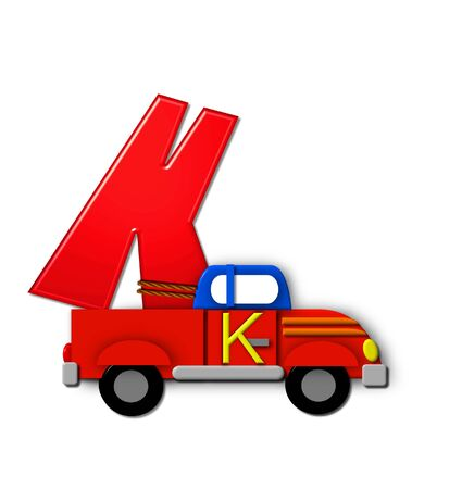 The letter K, in the alphabet set Alphabet On the Go is tied with rope to transportation vehicles in different colors, shapes and sizes.  Letter is 3D, red and ready to GO!