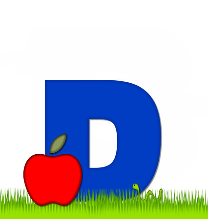 yard sign: The letter D, in the alphabet set Apple a Day Eaten Away, is blue.  Letter is sitting on green grass.  A green worm crawls around letter.