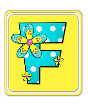 The letter F, in the alphabet set Bright Begonia, is teal with white polka dots.  2D flowers decorate letter in yellow, pink and teal.  Letter sits on bright yellow square.