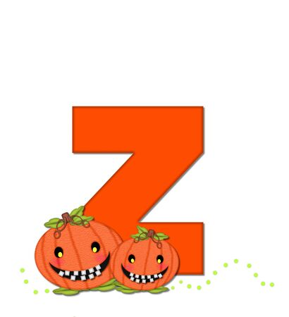 toothy: The letter Z, in the alphabet set Pumpkin Head, is bright orange. Letter is decorated with smiling, toothy pumpkins and green polka dots. Stock Photo