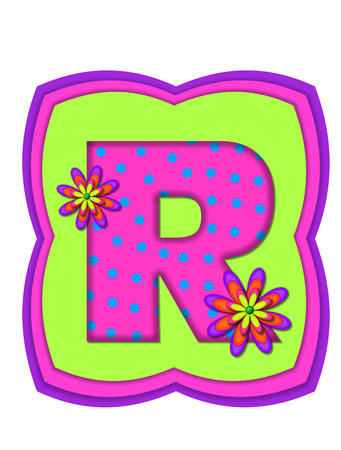 The letter R, in the alphabet set Daisy Daze, is colored in vivid pink with teal polka dots.  It is decorated with four layered daisies.  All sit on a pillow of neon green, hot pink and purple.