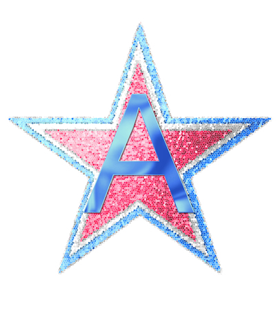 The letter A, in the alphabet set Red White and Blue is blue metallic.  Letter sits on three mosaic stars of red, white and blue. Stock Photo