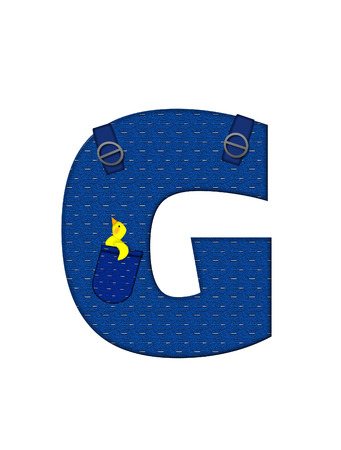 G、アルファベットで「農民ブラウン」を設定された文字はストラップ、ポケット付きデニムです。 市松模様のハンカチをポケットからピークします 写真素材