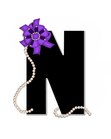 The letter N, in the alphabet set Ribbon Trimmed, is black, outlined with white.  Letter is decorated with colorful bow trimmed with pearls.  Strands of pearls fall from bow and lay at bottom of letter.