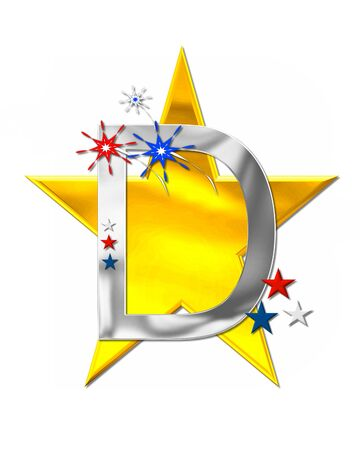 scrap gold: The letter D, in the alphabet set Patriotism is silver metalic.  Fireworks and stars decorate letter with red, white and blue.  Golden star serves as background. Stock Photo