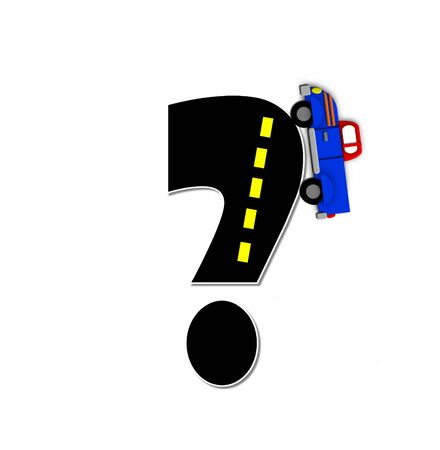 motorized: Question mark, in the alphabet set Transportation by Road, is black with yellow dividing line representing a black top road.  Colorful, motorized vehicle navigates outside of letter. Stock Photo