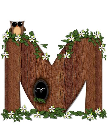 The letter M, in the alphabet set Log Home is filled with wod texture.  Flower bloom on vines hanging on letter.  One owl hides in knothole and the other outside the stump home.