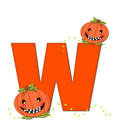 toothy: The letter W, in the alphabet set Pumpkin Head, is bright orange. Letter is decorated with smiling, toothy pumpkins and green polka dots.
