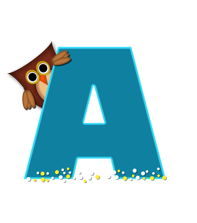 The letter A, in the alphabet set Owl  is turquoise.  It is decorated with a brown owl and white and yellow polka dots.