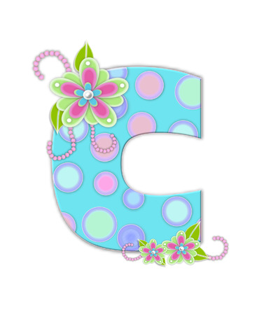 softly: The letter C, in the alphabet set Softly Spotted, is soft aqua.  Letter is decorated with pastel circles, flowers and beads.