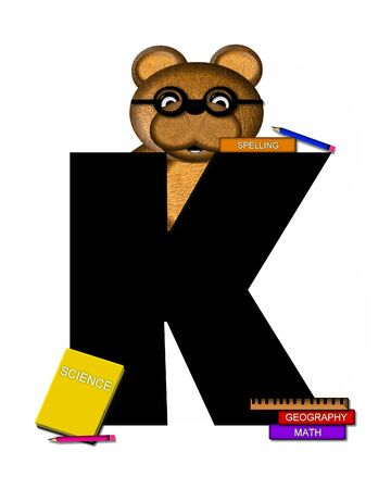 scrap book: The letter K, in the alphabet set Teddy Learning, is black. Teddy bear decorates letter and he is wearing glasses.  Books and pencils surround him.