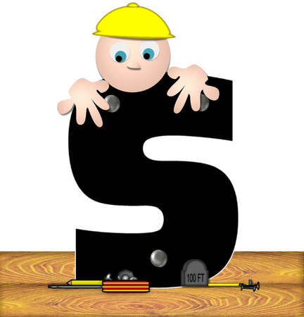inspecting: The letter S, in the alphabet set Construction Worker, is black with silver nails embedded in letter.  Construction worker bends over inspecting letter.  Tools sit beside letter on wooden planks.
