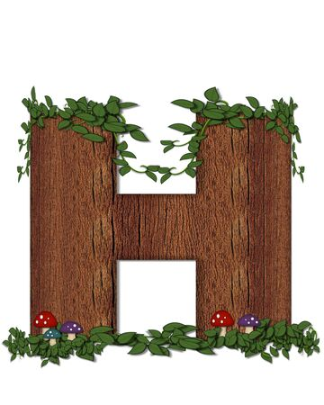 The letter H, in the alphabet set Log is filled with wod texture.  Vines and colorful mushrooms grow around letter.  Some letters have knot holes with peeking eyes. Stock Photo