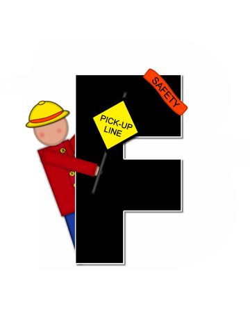 patrol: The letter F, in the alphabet set Children School Patrol, is black and outlined with white.  Child dressed as crossing guard wears banner, hat and carries sign.