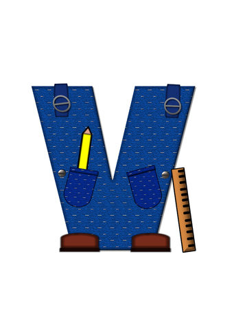 educational tools: The letter V, in the alphabet set Carpenter Tools, is denim with tool pocket.  Brown, construction boots sit at base of letter.  Various tools decorate letter. Stock Photo