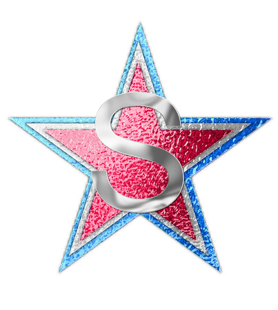 metalic background: The letter S, in the alphabet set All Star is silver metalic.  Three stars of red, white and blue form background. Stock Photo