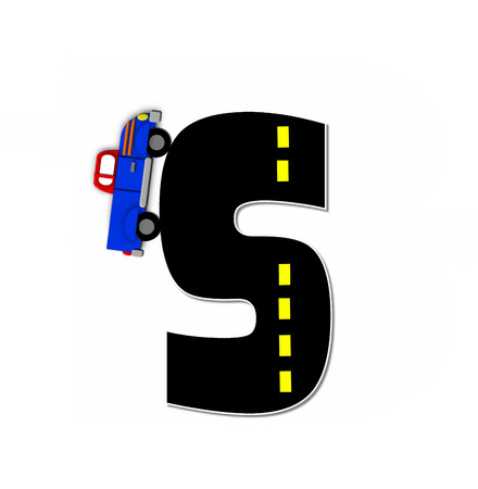 motorized: The letter S, in the alphabet set Transportation by Road, is black with yellow dividing line representing a black top road.  Colorful, motorized vehicle navigates outside of letter.