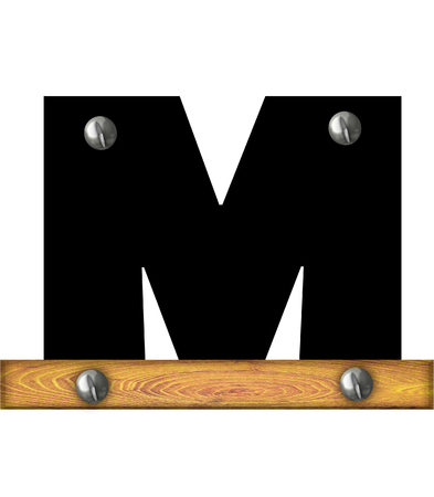 wooden board: The letter M, in the alphabet set Alphabet Building, is black and riveted with silver screws to a wooden board. Stock Photo