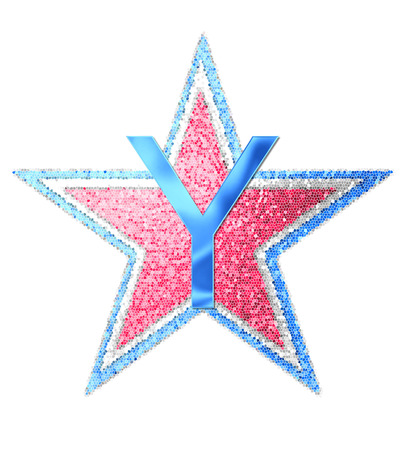 forth: The letter Y, in the alphabet set Red White and Blue is blue metallic.  Letter sits on three mosaic stars of red, white and blue. Stock Photo