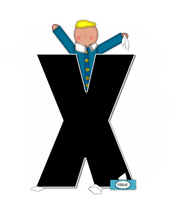 The letter X, in the alphabet set Children Sickness is black and trimmed with white.  Child is wearing a scarf, and treating an illness or sickness with tissues and medicine.