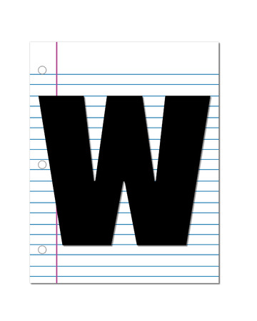 notebook paper: The letter W, in the alphabet set Start of School, is black.  Letter is setting on a blank piece of notebook paper.  This set coordinates with Alphabt Start of School Two which has children and pencils.