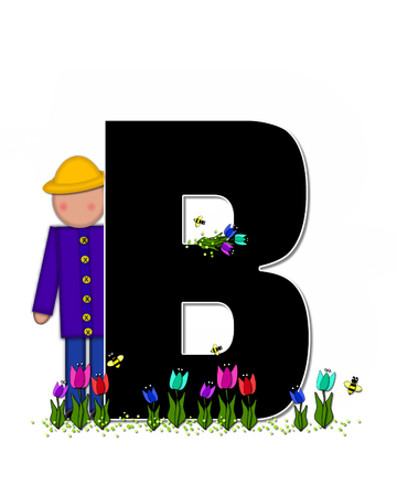 straw hat: The letter B, in the alphabet set Children Spring Tulips is black and trimmed with white.  Child holds bouquet of tulips and wears a straw hat.  Tulip garden grows at her feet.