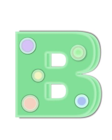 The letter B, in the alphabet set Kaleidoscope, is decorated with two tone polka dots.  Letter is pastel green with soft, outer edge of white.