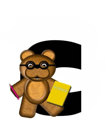 scrap book: The letter C, in the alphabet set Teddy Learning, is black. Teddy bear decorates letter and he is wearing glasses.  Books and pencils surround him.