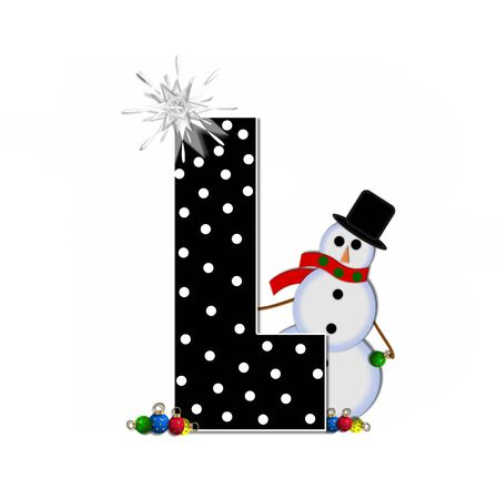 The letter L, in the alphabet set Frosty, is black and decorated with a snowman and Christmas ornaments.  Snowman is wearing a red scarf and alphabet letter is topped with a glowing white star.
