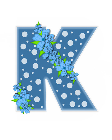 The letter K, in the alphabet set Dusty Blue Dots, is Blue.  Letter is decorated with blue flowers and is covered in large and small polka dots.