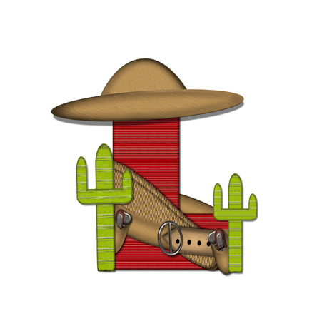 theif: The letter L, in the alphabet set Bandido, is filled with a red lined, tight woven blanket pattern.  Letter is wearing a gun belt and tan blanket with a somberro on top.  Two cacti sit at each side.