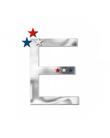 metalic: The letter E, in the alphabet set Plain Patriotism is silver metalic.  Three stars decorate letter with red, white and blue.  Letters coordinate with Alphabet Patriotism.