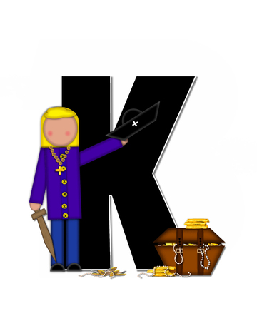 loot: The letter K, in the alphabet set Children Pirates, is black outlined with white.  Children play pirates with wooden sword, treasure chest, gold and pearls.