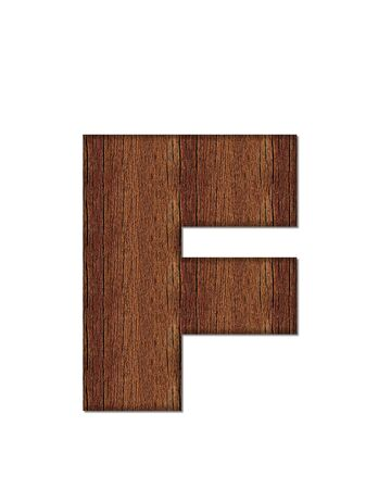 wood grain: The letter F, in the alphabet set Wood Grain resembles paneling or finished wood grain. Stock Photo
