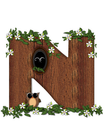 The letter N, in the alphabet set Log Home is filled with wod texture.  Flower bloom on vines hanging on letter.  One owl hides in knothole and the other outside the stump home. Stock Photo