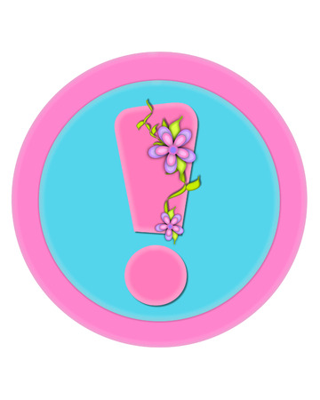 Exclamation mark, in the alphabet set Bouquet in Pastels, is soft pink.  It is decorated with flowers and sits on circles in aqua and pink.