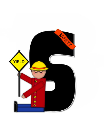 patrol: The letter S, in the alphabet set Children School Patrol, is black and outlined with white.  Child dressed as crossing guard wears banner, hat and carries sign.