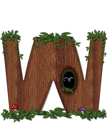 The letter W, in the alphabet set Log is filled with wod texture.  Vines and colorful mushrooms grow around letter.  Some letters have knot holes with peeking eyes.