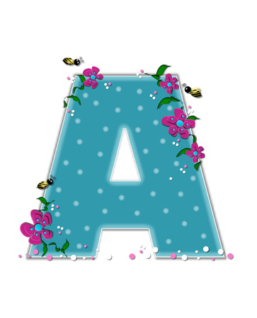 The letter A, in the alphabet set Garden Buzz, is aqua.  Each letter is decorated with soft polka dots, flowers and buzzing bees.  Base of letter is covered in pink and white confetti.