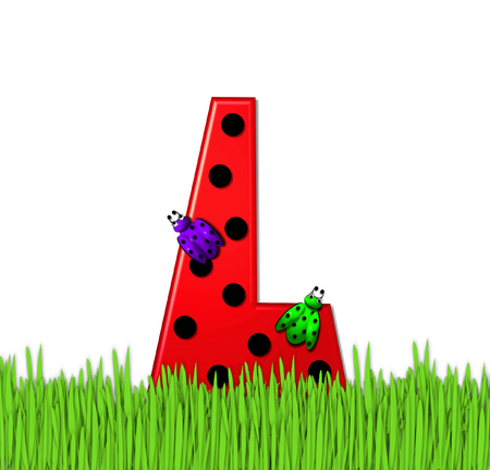 lady bug: The red letter L, in the alphabet set Lady Bug Red, has large black polka dots and is decorated with 3D ladybugs.  Letter is nestled in tall, garden grass.