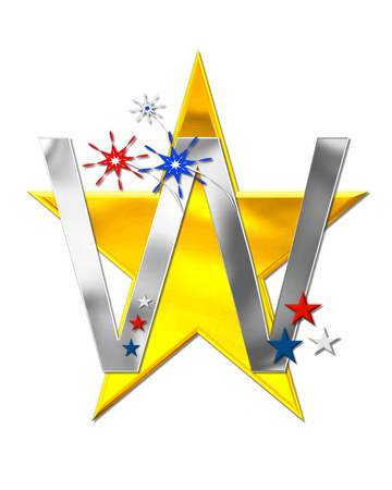 scrap gold: The letter W, in the alphabet set Patriotism is silver metalic.  Fireworks and stars decorate letter with red, white and blue.  Golden star serves as background.
