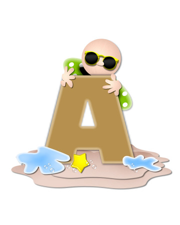 tan: The letter A, in the alphabet set Ocean Swimming is tan.  Letter sits on beach and is decorated with swimmer, water, bubbles and yellow starfish.