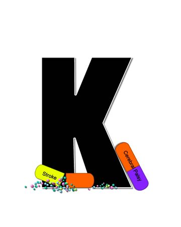 The letter K, in the alphabet set Wellness Check, is black and outlined with white.  RX capsules decorate letter with health diseases on each capsule. 版權商用圖片
