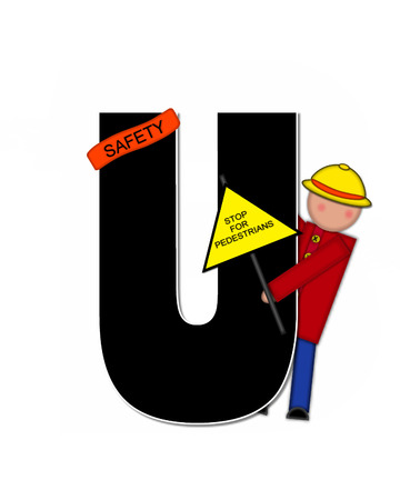 patrol: The letter U, in the alphabet set Children School Patrol, is black and outlined with white.  Child dressed as crossing guard wears banner, hat and carries sign. Stock Photo