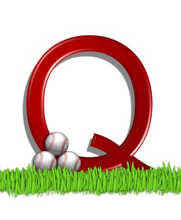 The letter Q, in the alphabet set Baseball, is red.  Three baseballs decorate 3D letter.  All sit in a field of green grass. Stock Photo