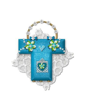 The letter T, in the alphabet set Bling Bag, depicts aqua letter as a blinged out purse with gold handle.  Letter has lace, diamonds and flowers.  Background framing letter is a lace handkerchief. Imagens