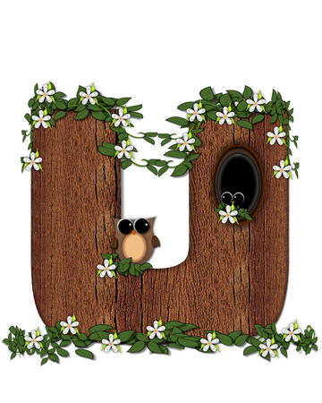 The letter U, in the alphabet set Log Home is filled with wood texture.  Flower bloom on vines hanging on letter.  One owl hides in knothole and the other outside the stump home.