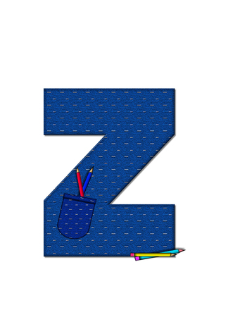 tilted: The letter Z, in the alphabet set School Days, in dressed in denim material with tilted pocket filled with pencils or crayons.  An apple with a worm sometimes decorates base of letters. Stock Photo