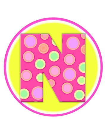 The letter N, in the alphabet set Circle Party is decorated with polka dots in pink, green and orange.  Letter sits on a two color circle of yellow and pink.